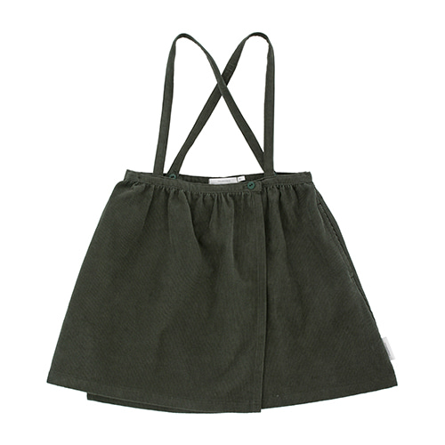 Solid Corduroy Wrap Over Braces Skirt - Dark Green ★ONLY 8Y★