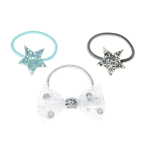 Sequin Shaker Bow Pony Set - Silver