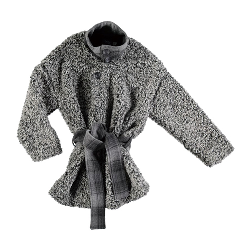 Hair Fabric Coat  w/  Belt - Grey