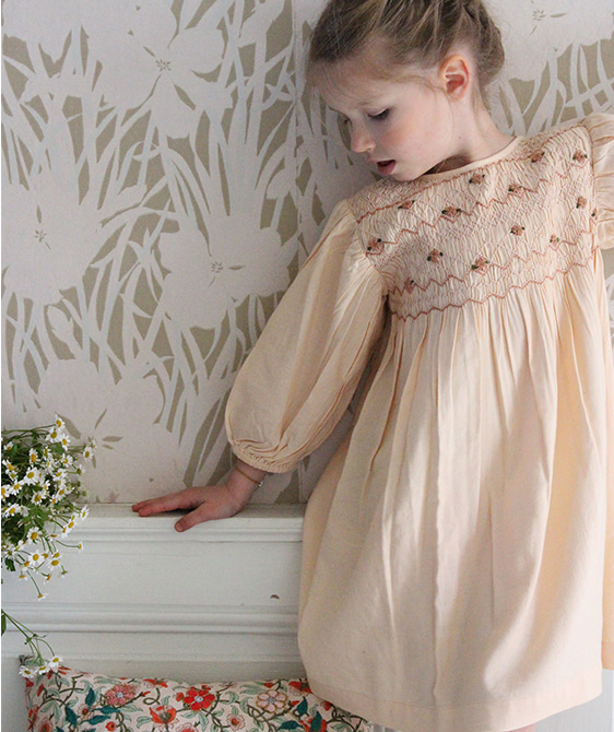 Smock Dress - Solid nude twill ★ONLY 10Y★