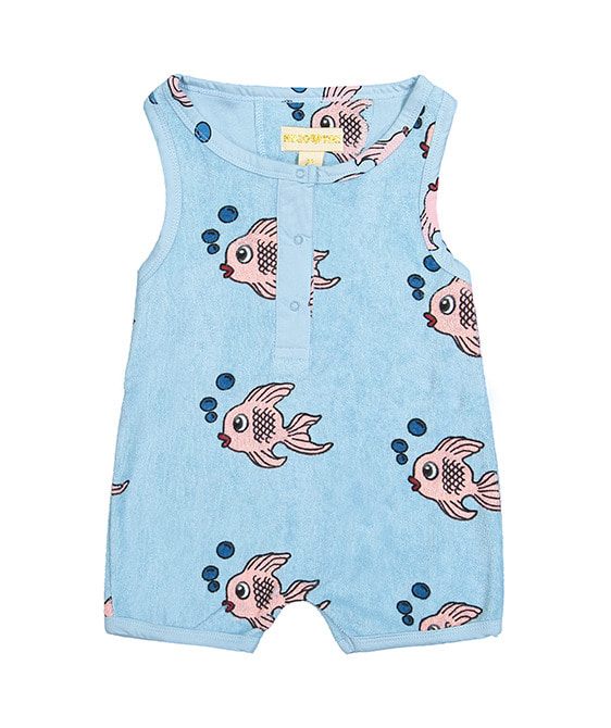 Terry Short Leg Romper - Blue Fish