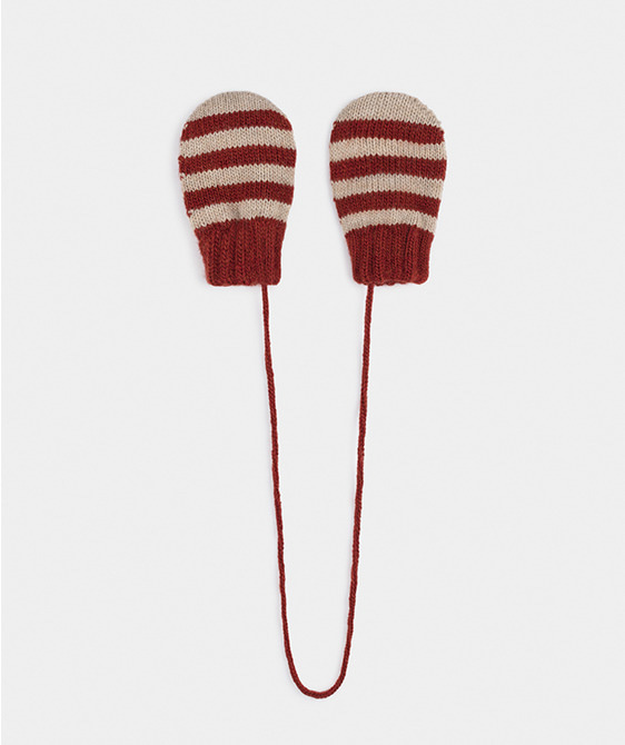 Red Striped Mitten Gloves #261