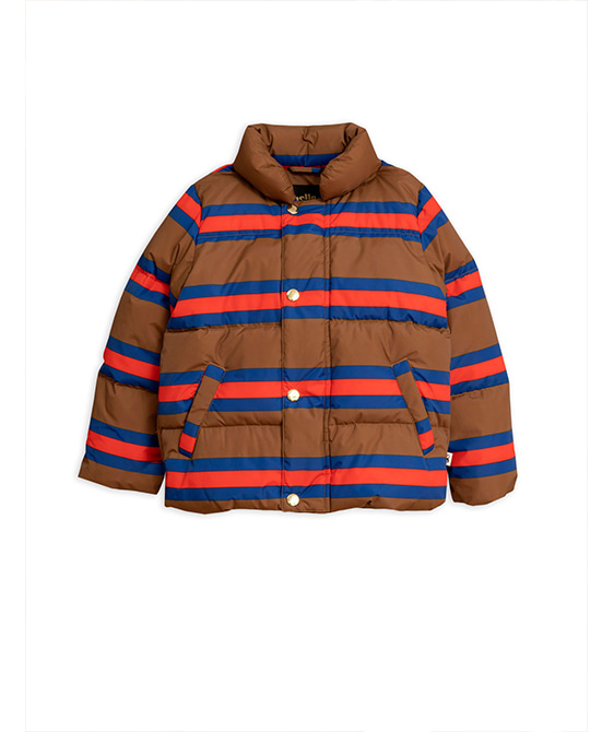 Stripe Puffer Jacket -  Brown
