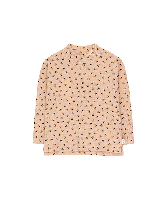 """Tiny Flowers"" Mockneck Tee - Light Nude/Navy ★ONLY 8Y★"
