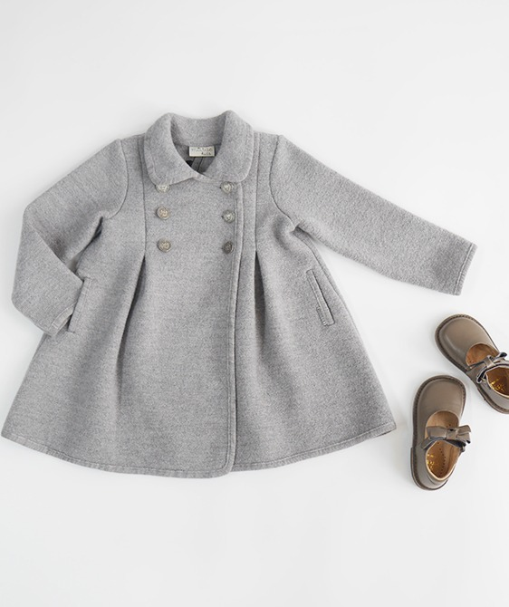 Double Breast Wool Swing Coat - #3218 Grey
