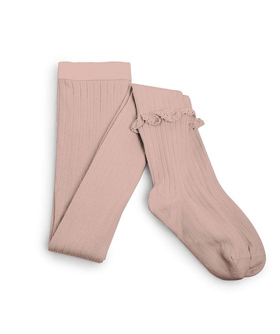 Chloe Ribbed Frill Tights - #331 Vieux Rose