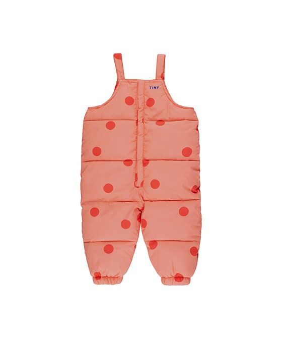 """Big Dots"" Padded Dungaree - Peachy Red/Red"