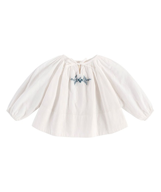 Embroidered Olive Blouse - Off White