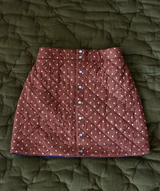 Quilted Skirt - Ecru Dots