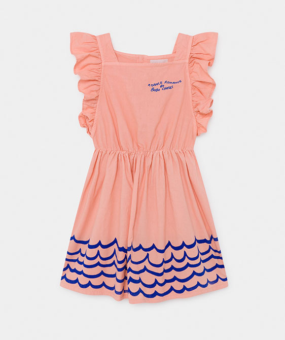 Waves Woven Ruffle Dress (Kid) #01122