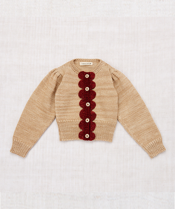 Scallop Cardigan - Alabaster/Brick