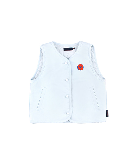 'Happy Face' Denim Vest - Light Denim/Red