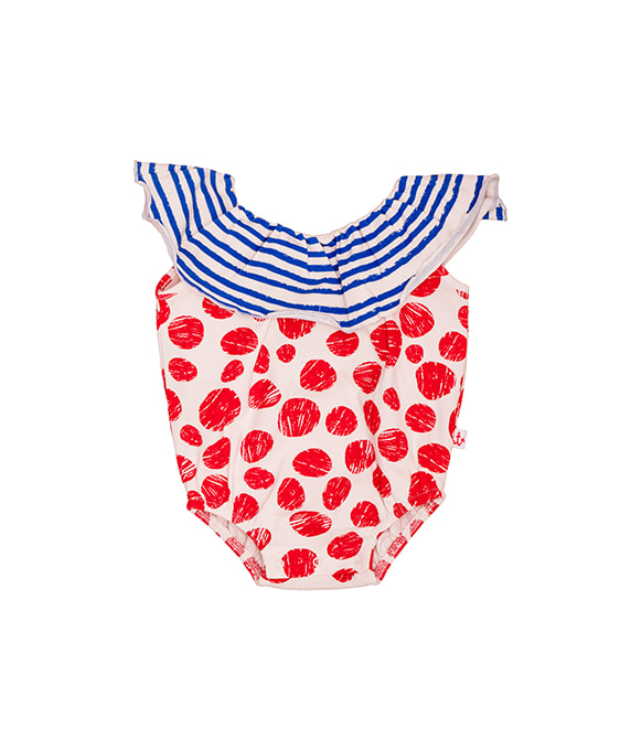 Collar Romper - Red Dots & Blue Stripes
