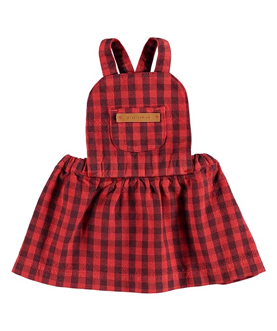 Baby Dungaree Dress - Garnet & Grey Checkered ★ONLY 18M★
