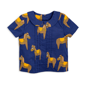Horse Woven Pleat Blouse - Navy ★ONLY 8Y★