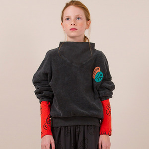 Happy Sad Rib Collar Sweatshirt