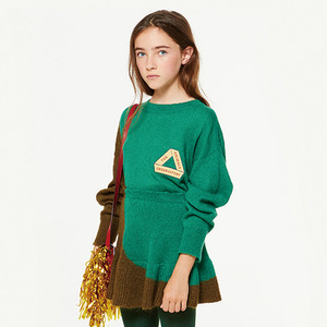 Bicolor Bull Kids Sweater - Electric Green Triangle