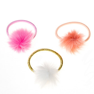 Furry Pom Pom Pony Set - Pink/Coral