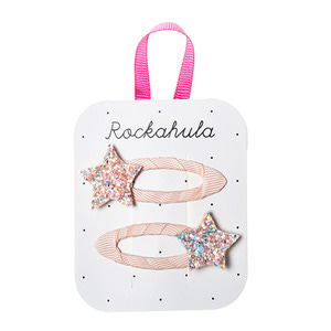 Star Glitter Clips - Peach