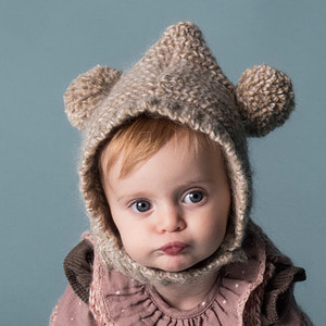 Knitted Ears Hood  - Beige