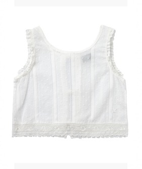 Lace Trim Plumeti Blouse  #S90619 ★ONLY 2Y★