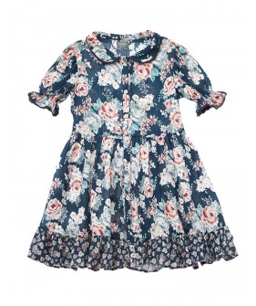Peter Pan Collar Flowers Dress #S30919 ★ONLY 3Y★