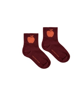 Apple Medium Socks - Aubergine/Red