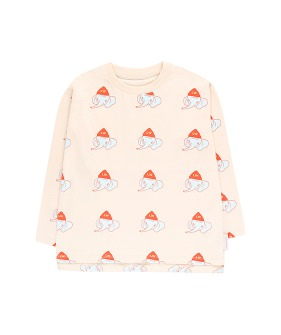 Luckyphant LS Tee - Light Cream/Light Mint