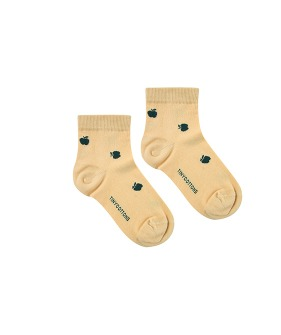 Apples Quarter Socks - Sand/Bottle Green