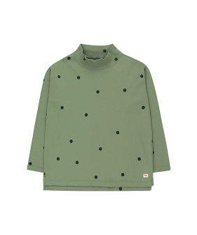 Dots Mockneck Tee - Green Wood/Bottle Green