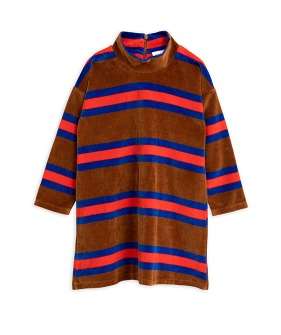 Velour Stripe LS Dress - Brown