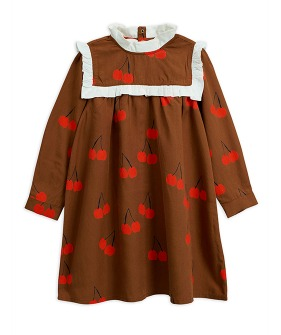 Cherry Woven Frill Dress -  Brown