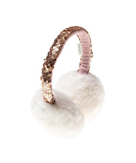 Shimmer Sequin Band Earmuffs - Ivory