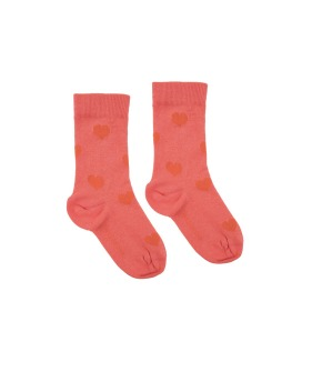 Hearts Medium Socks - Light Red/Red