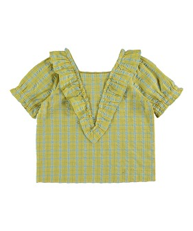 Freesia Blouse - Check Yellow ★ONLY 4Y★
