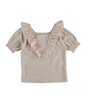 Bouquet Check Blouse - Red Check ★ONLY 6Y★