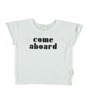 "T-shirt - Off-White w/ Black ""Come Aboard"" Print"