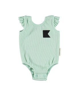 Ribbed Body With Frills On Shoulders - Greenwater W/ Black Nautical Flag
