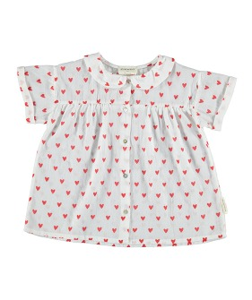 Peter Pan Collar Blouse - White W/ Red Hearts Pattern