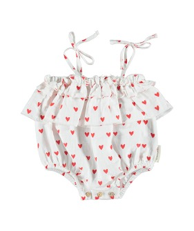 Baby Playsuit With Frills On Chest And Straps - Red Hearts Pattern ★ONLY 24M★