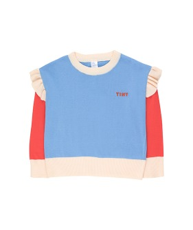 Tiny Frills Crop Sweater - Cerulean Blue/Red