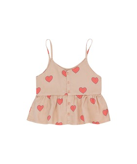 Hearts Blouse - Light Nude/Red