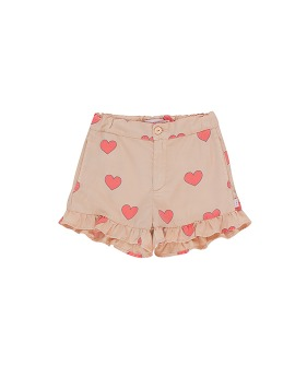 Hearts Frills Short - Light Nude/Red