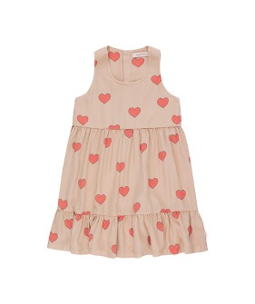 Hearts Dress - Light Nude/Red