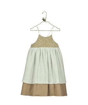 V07.1-Dress Raffia Combi -  Soft Beige