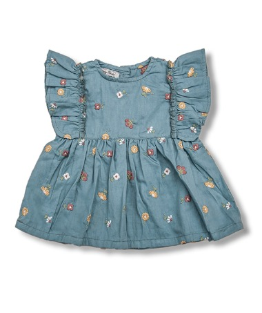 Uniqua Top - Duck Blue With Flower Badge ★ONLY 4Y★