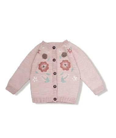 Flora Summer Cardigan - Dusty Pink With Floral Embroidery ★ONLY 4Y★