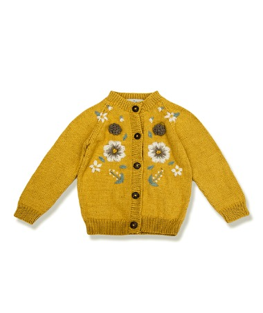Flora Summer Cardigan - Mustard With Floral Embroidery ★ONLY 4Y★
