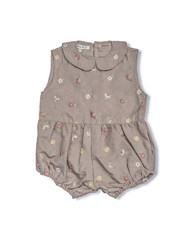 Uniqua Vintage Romper - Taupe With Flower Badge ★ONLY 12-18M★