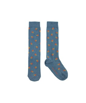 """Tiny Flowers"" High Socks - Sea Blue/Red"